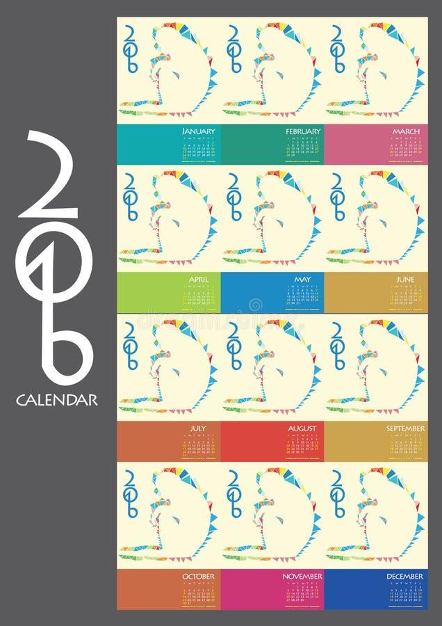 För apaform för kalender 2016 diagram och jordningsbegrepp all månad stock illustrationer