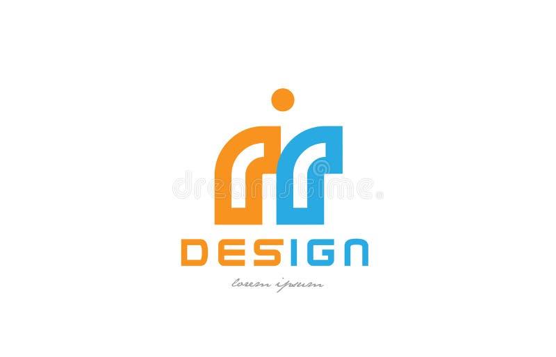för apelsinblått för rr r r kombination för logo för bokstav för alfabet royaltyfri illustrationer