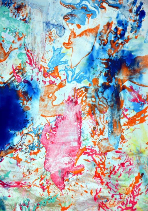 För apelsingrå färger för rosa färger målar blåa former vattenfärgbakgrund, abstrakt begreppformer och geometrier fotografering för bildbyråer