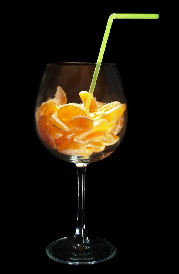 för apelsinskivor för coctail glass sugrör royaltyfri foto