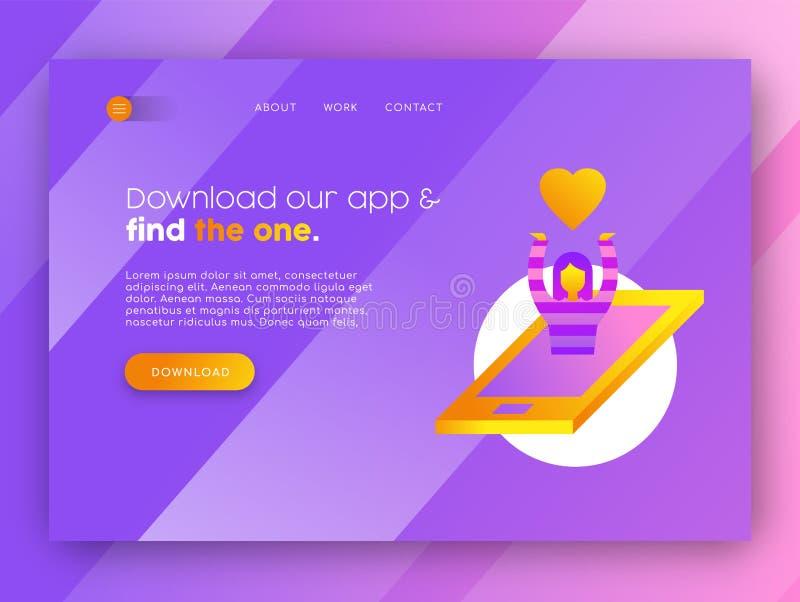 För app-landning för online-datummärkning mobil mall för sida royaltyfri illustrationer