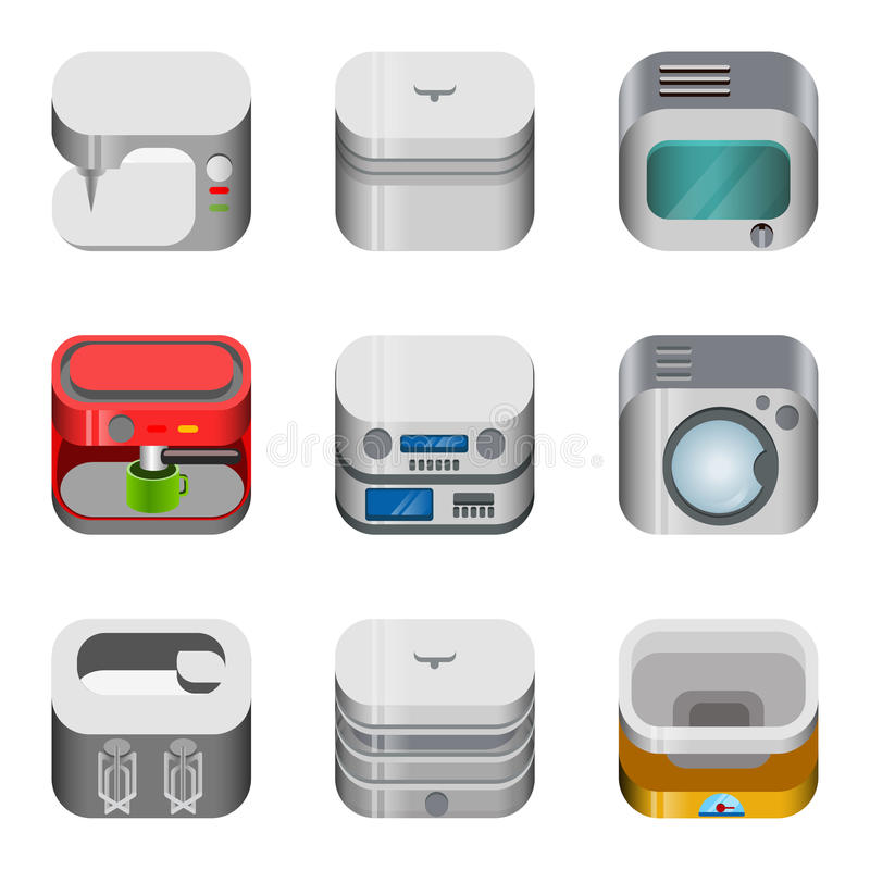 För app-symbol för hem- elektronik glansig uppsättning för vektor stock illustrationer