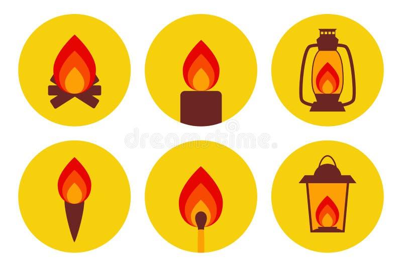 För apparatsymbol för brand upplysande uppsättning royaltyfri illustrationer
