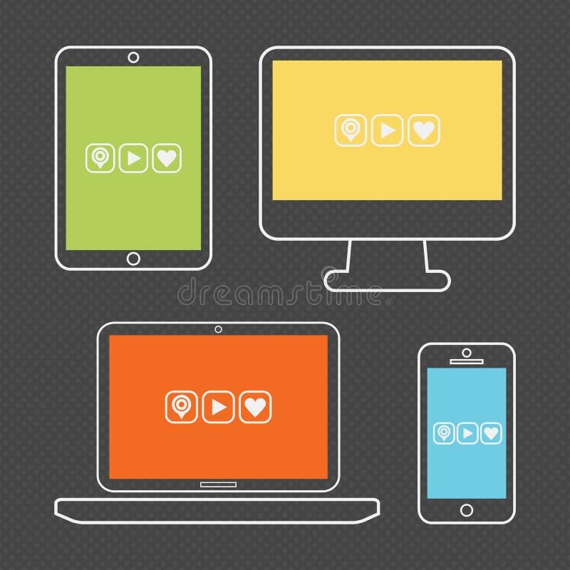 För apparatsymboler för abstrakt färgrik översikt smart uppsättning stock illustrationer