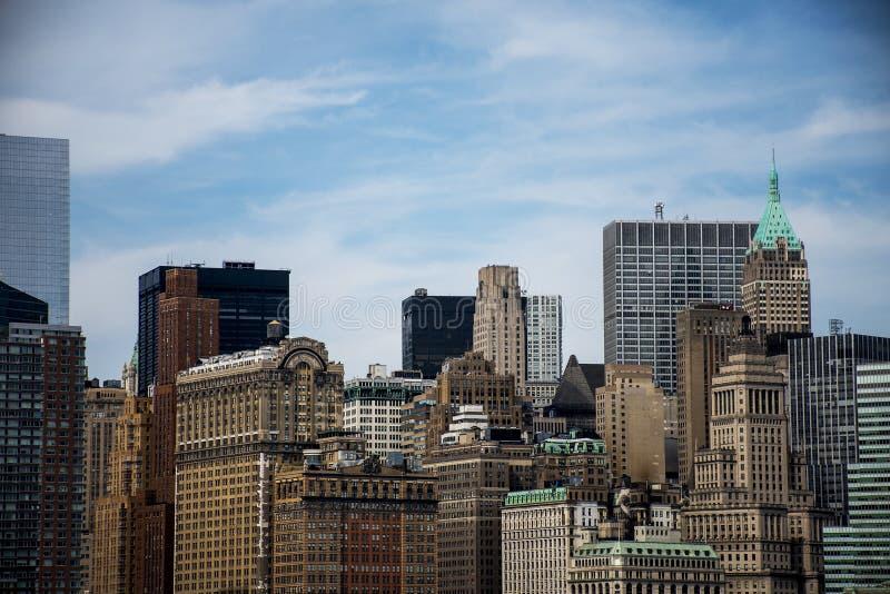 För Apple för New York City USA horisont stor sikt 5 flod royaltyfria foton