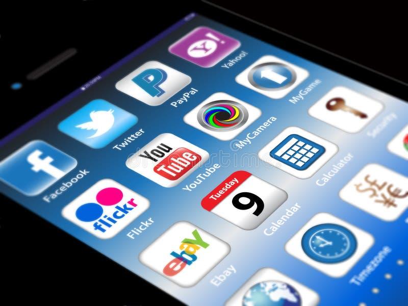 för appsiphone för äpple 4s samkväm för madia vektor illustrationer