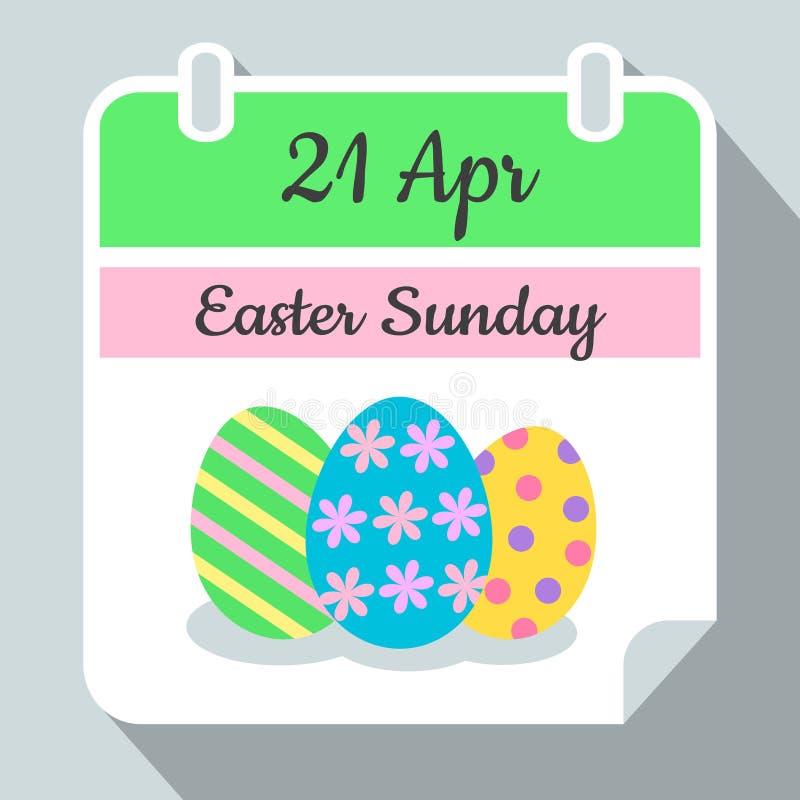 För april för kalender för påsksöndag vägg 2019 symbol 21 vektor med färgrika easter ägg med prickar, stipes och blommor, framlän royaltyfri illustrationer