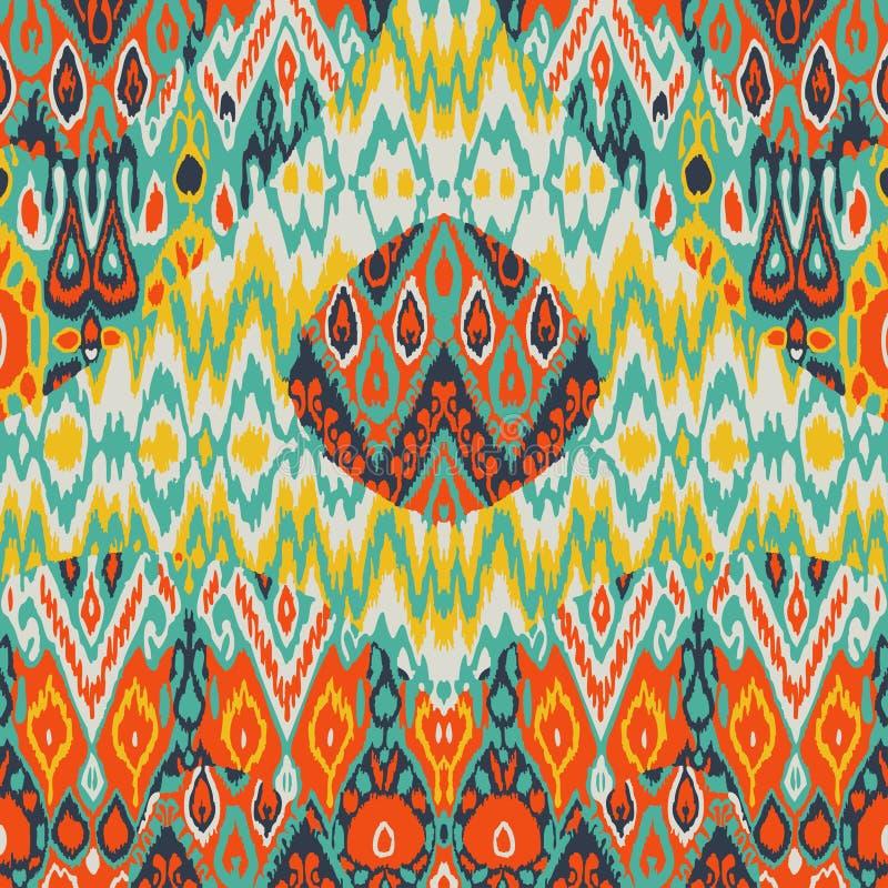 För arabesquemodell för patchwork etniskt bohemiskt tryck Sömlös zigz stock illustrationer