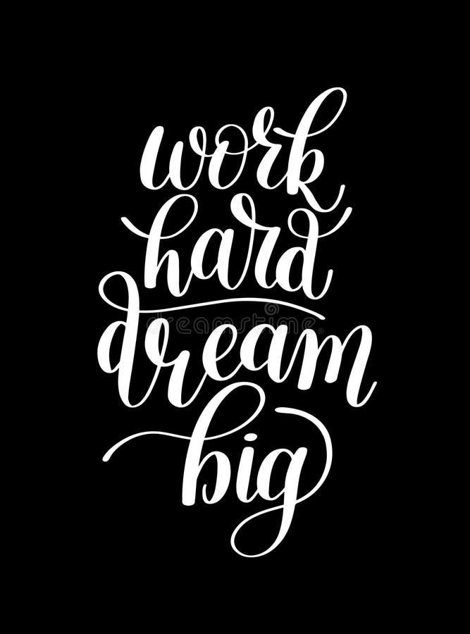 För arbete dröm- stort hårt Customizable design för Motivational citationstecken stock illustrationer