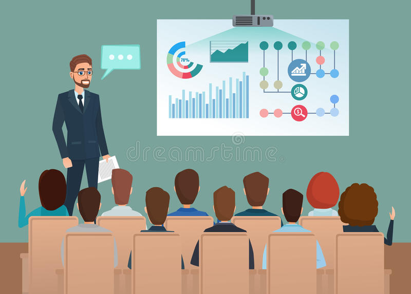 För arbetslag för affär yrkesmässigt möte Mannen talar vektor illustrationer