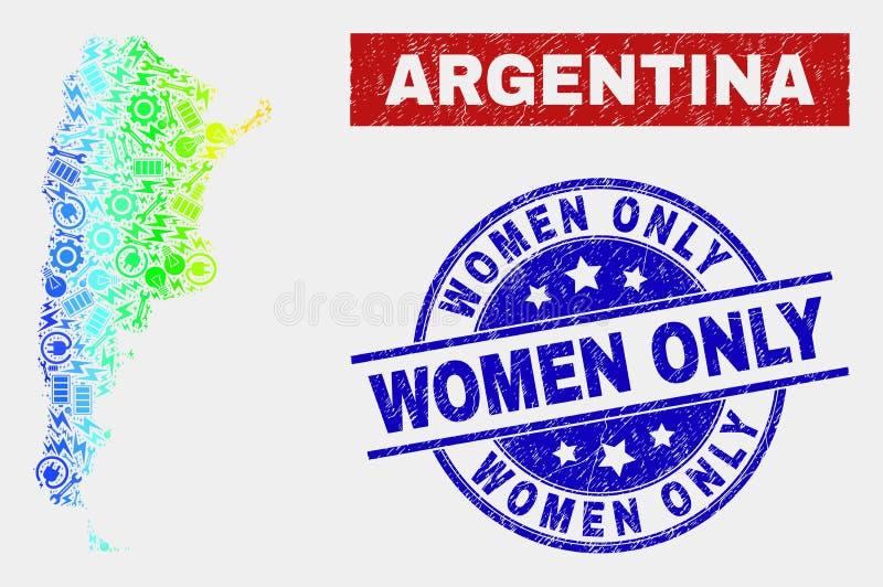 För för Argentina för spektrum del- skyddsremsor för kvinnor översikt och nödläge endast vektor illustrationer