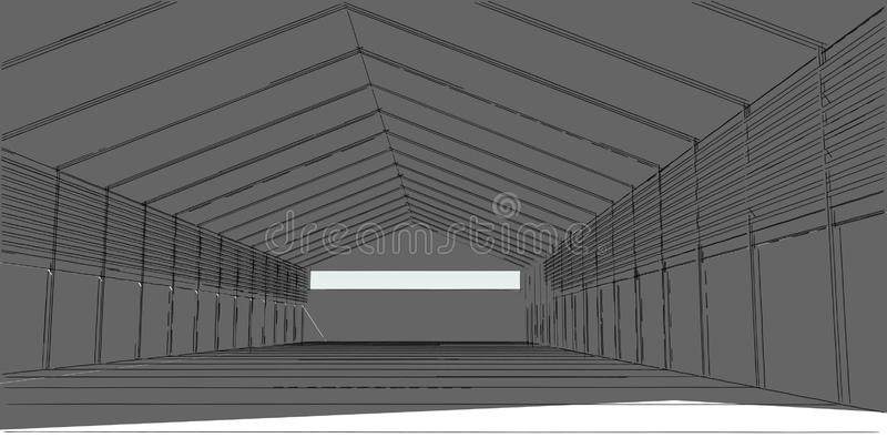 f?r arkitekturbyggnad f?r illustration 3D linjer f?r perspektiv vektor illustrationer