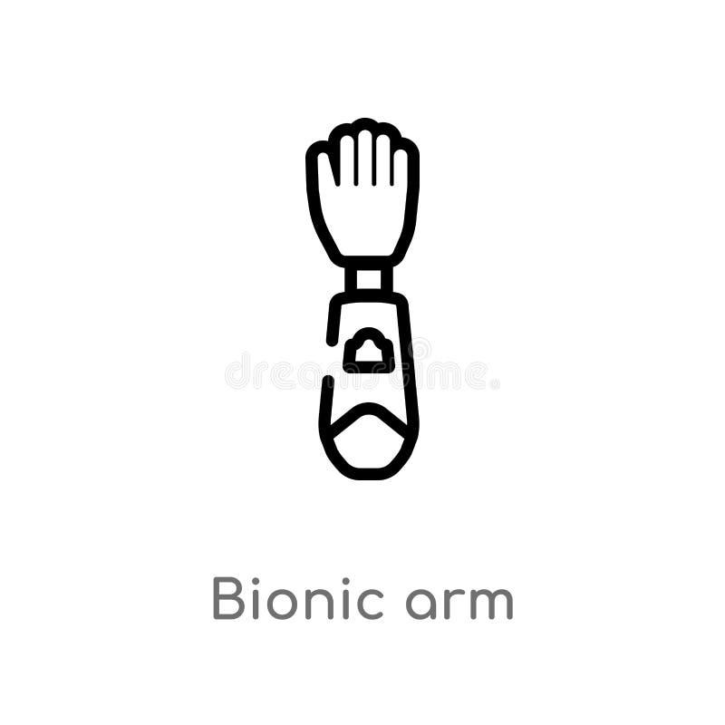 f?r armvektor f?r ?versikt bionisk symbol isolerad svart enkel linje best?ndsdelillustration fr?n konstgjort intellegencebegrepp  vektor illustrationer