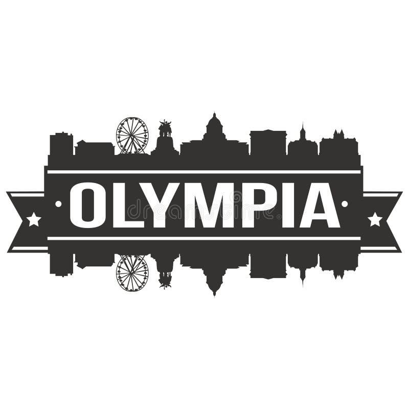 För Art Design Skyline Flat City för Olympia Washington United States Of America USA symbolsvektor redigerbar mall kontur vektor illustrationer