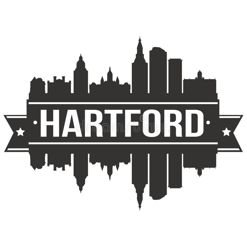 För Art Design Skyline Flat City för vektor för Hartford Connecticut Amerikas förenta staterUSA symbol redigerbar mall kontur stock illustrationer