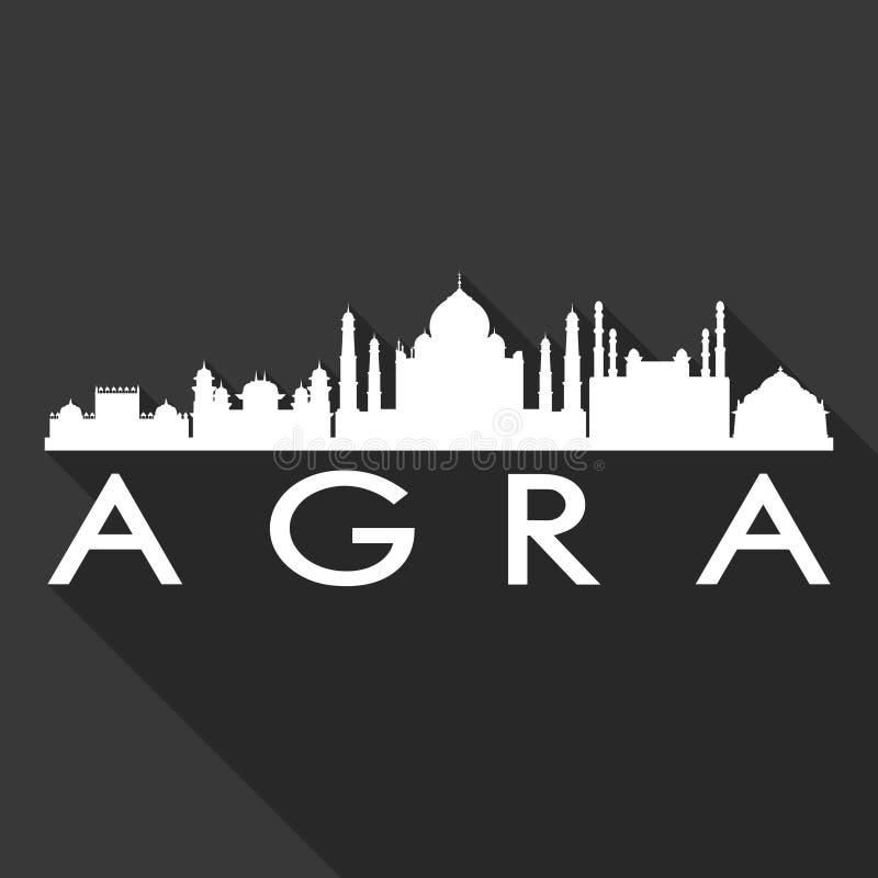 För Art Flat Shadow Design Skyline för Agra Indien Asien symbolsvektor bakgrund för svart för mall för kontur stad vektor illustrationer