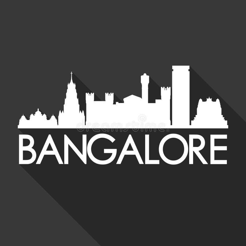 För Art Flat Shadow Design Skyline för Bangalore Indien Asien symbolsvektor bakgrund för svart för mall för kontur stad royaltyfri illustrationer