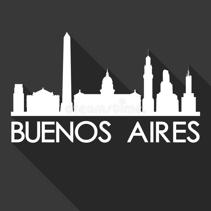För Art Flat Shadow Design Skyline för Buenos Aires Sydamerika symbolsvektor bakgrund för svart för kontur stad royaltyfri illustrationer