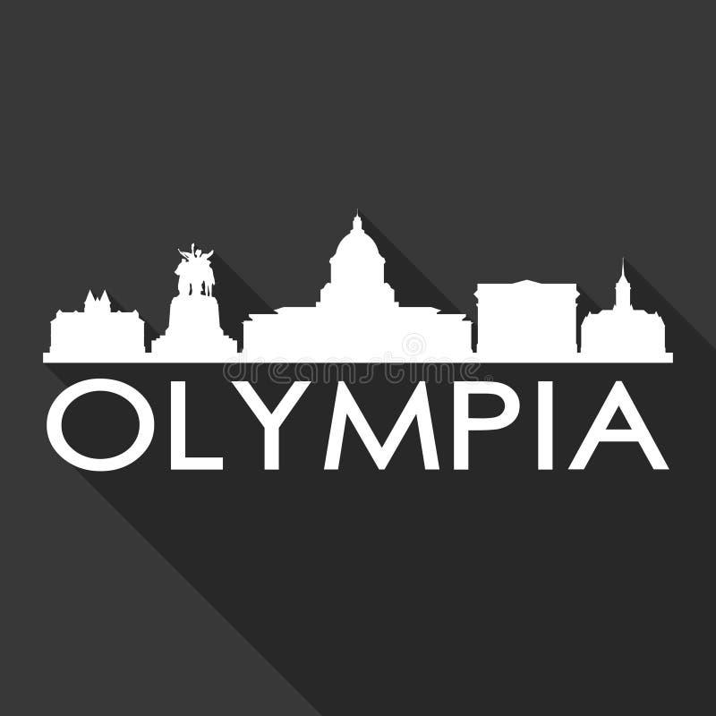 För Art Flat Shadow Design Skyline för Olympia Washington United States Of America USA symbolsvektor bakgrund för svart för kontu vektor illustrationer