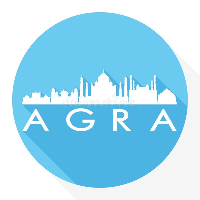 För Art Flat Shadow Design Skyline för vektor för Agra Indien rundasymbol logo för mall för kontur stad vektor illustrationer