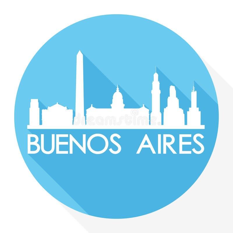 För Art Flat Shadow Design Skyline för vektor för Buenos Aires Sydamerika rundasymbol logo för mall för kontur stad stock illustrationer