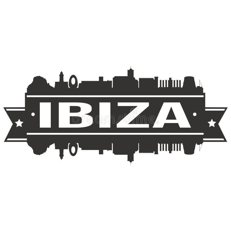 För Art Flat Shadow Design Skyline för vektor för Ibiza Spanien rundasymbol logo för mall för kontur stad royaltyfri illustrationer