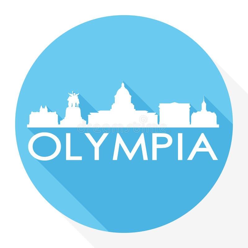 För Art Flat Shadow Design Skyline för vektor för Olympia Washington Capital USA rundasymbol logo för mall för kontur stad vektor illustrationer