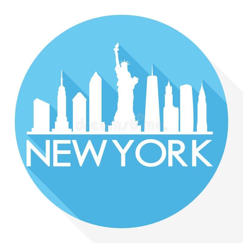 För Art Flat Shadow Design Skyline för vektor för symbol för New York City Amerikas förenta staterUSA runda logo för mall för kon stock illustrationer