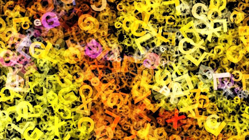 För Art Organism Background Beautiful för gul Fractal bakgrund för design för grafik elegant illustration royaltyfri illustrationer