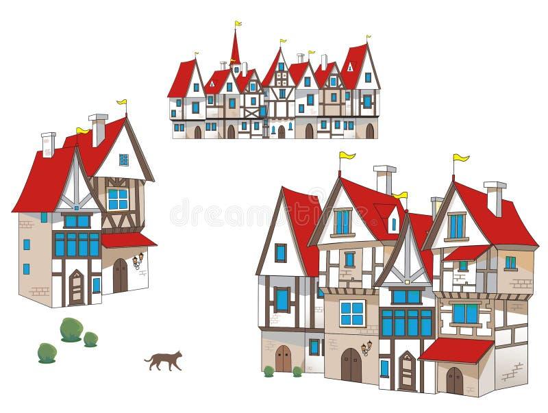 För artoon för saga Ñ medeltida hus royaltyfri illustrationer