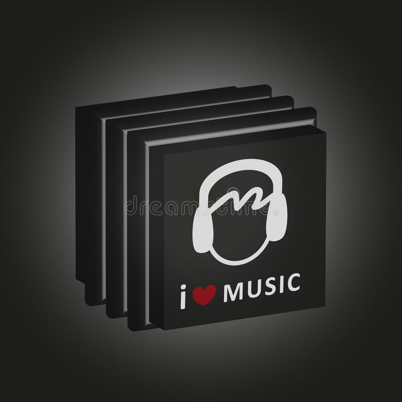 För ask'älskar jag vektorn musik' för musik den cd arkivfoton