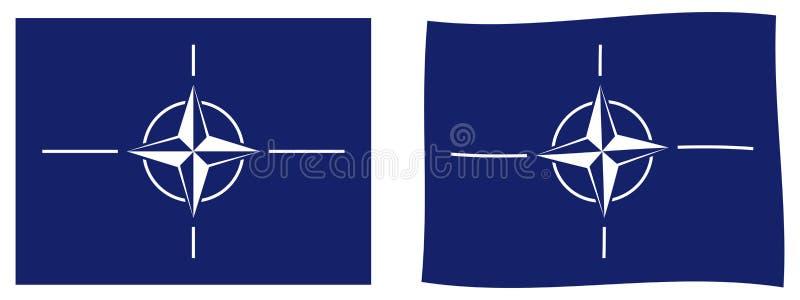 För atlantisk flagga för NATO fördragorganisation för norr Enkelt och sligh royaltyfri illustrationer