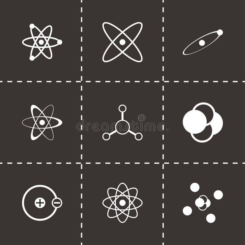 För atomsymbol för vektor svart uppsättning vektor illustrationer