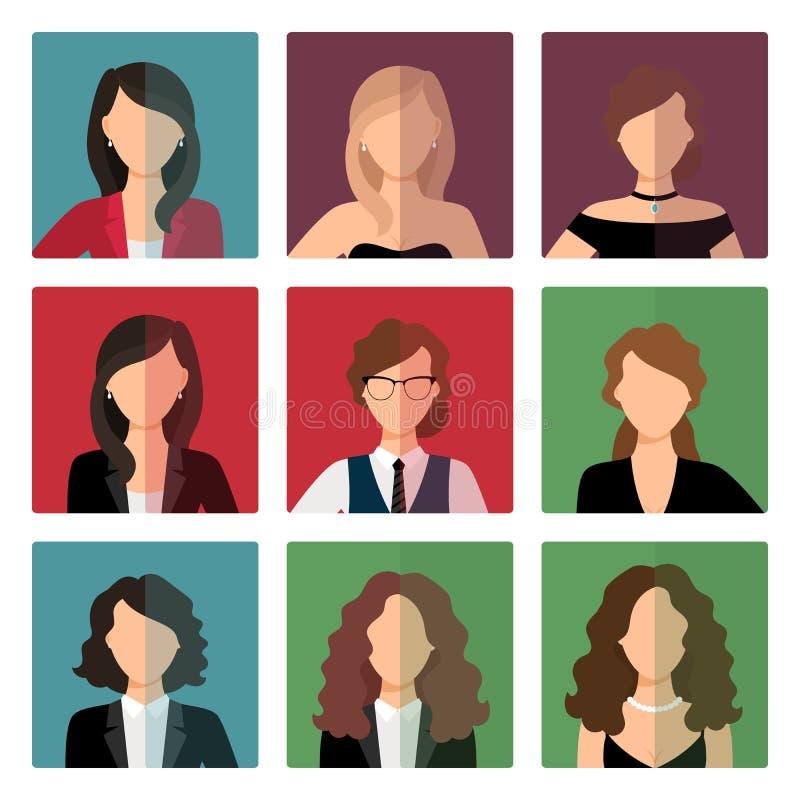 För avatarsymboler för vuxna kvinnor uppsättning stock illustrationer