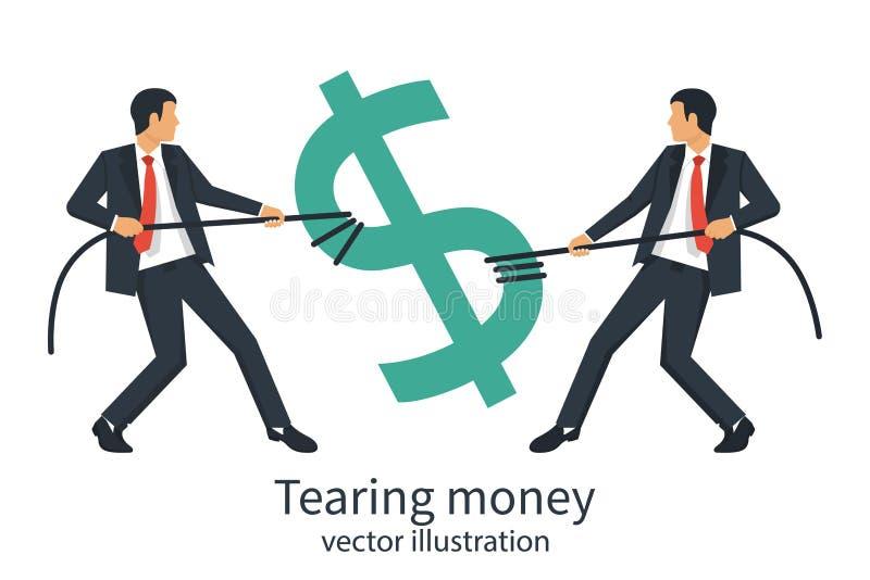 För avbrottsallsång för två affärsmän räkning för dollar med repet vektor illustrationer