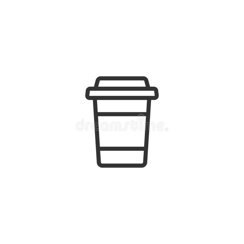 För avhämtning kaffe med lock- och kopphållaren disponibel pappkopp kaffe Symbol för pappers- behållare stock illustrationer