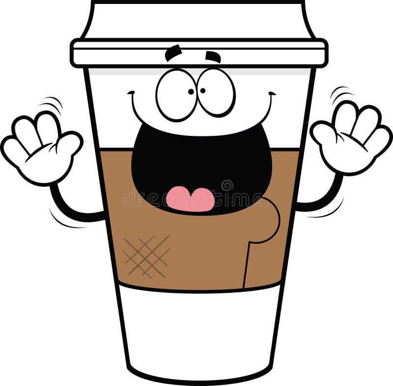 För avhämtning kaffekopp för tecknad film royaltyfria foton
