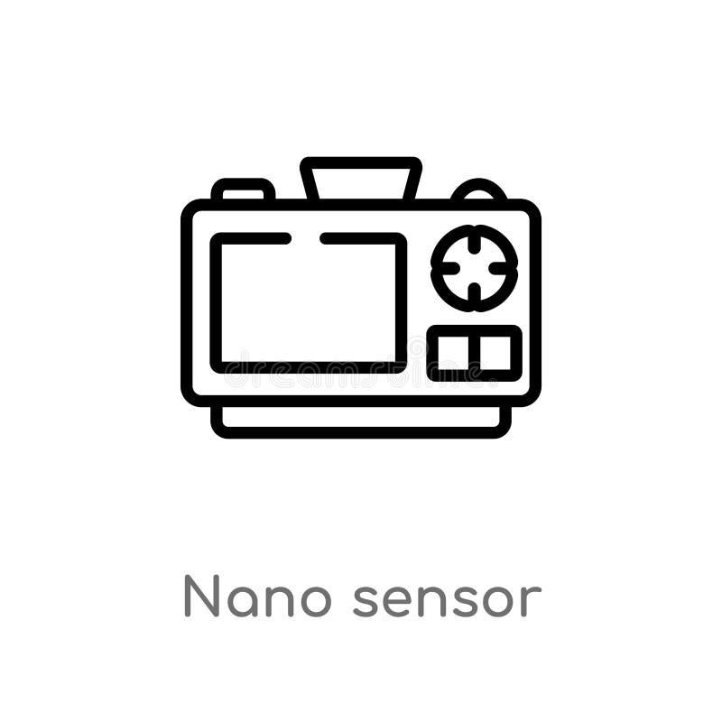 för avkännarevektor för översikt nano symbol isolerad svart enkel linje beståndsdelillustration från konstgjort intellegencebegre stock illustrationer