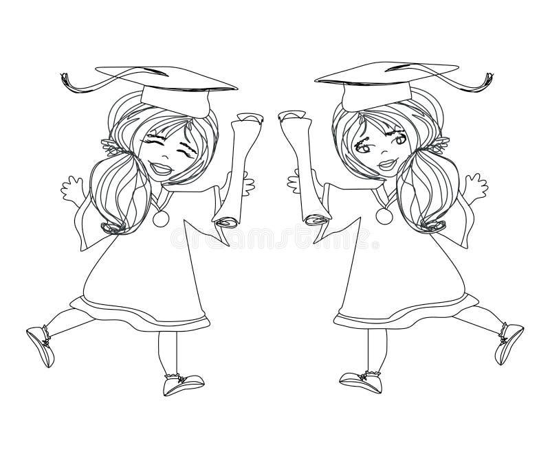 För avläggande av examendag för flicka le fira diplom för innehav stock illustrationer