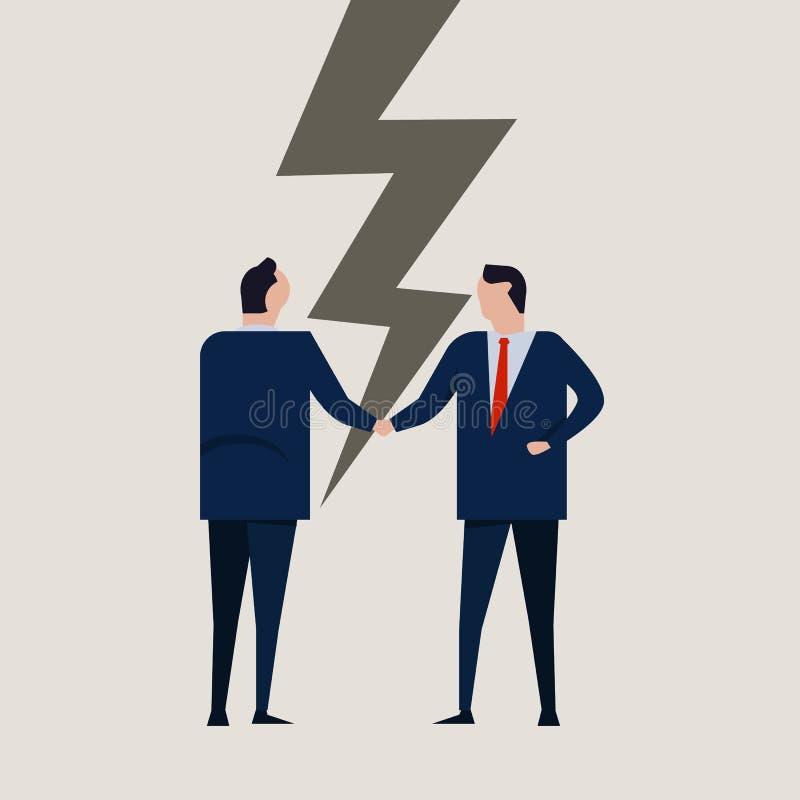 För avtalsförhållandet för affärsmän knäckte brutet fel för partnerskap motsättning Isolerat på vit stock illustrationer