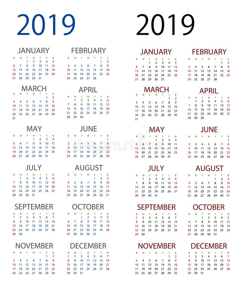 2019 för bästa kalender royaltyfri illustrationer