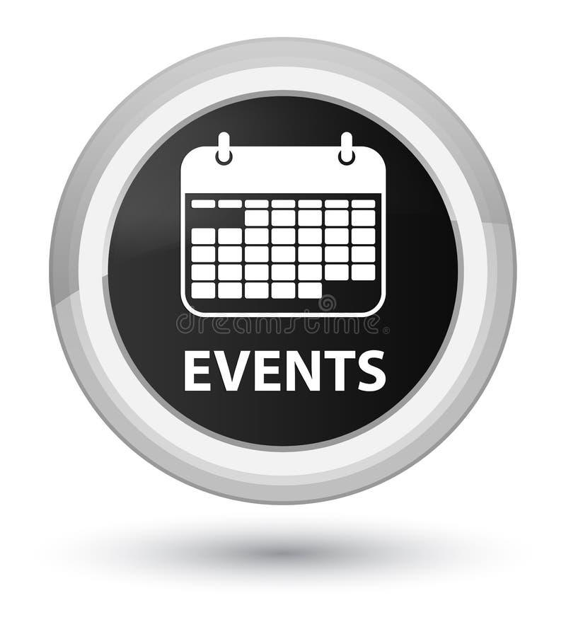 För börjansvart för händelser (kalendersymbol) knapp för runda stock illustrationer