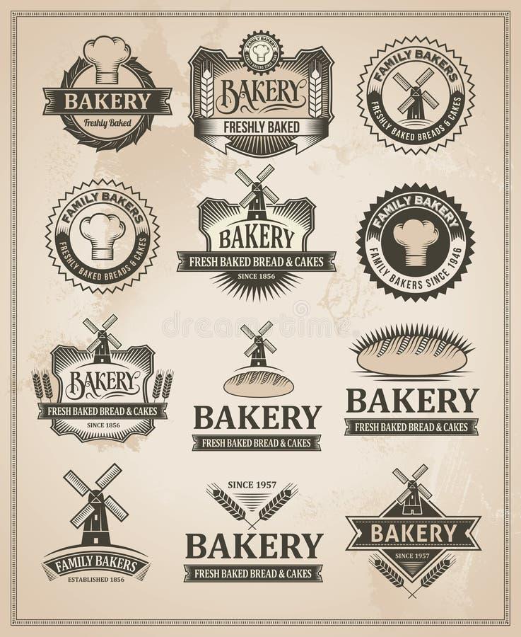 För bagerietikett för tappning Retro uppsättning vektor illustrationer