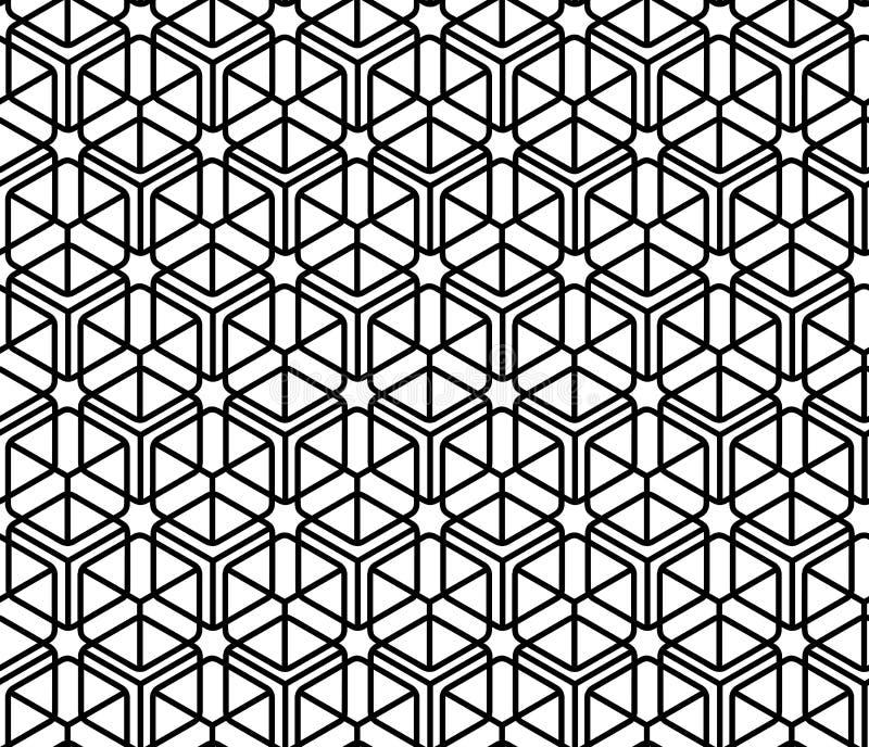 För bakgrundsArabesque för geometrisk dekorativ kubiksömlös svartvit modell modern linjär vektor för stil royaltyfri illustrationer