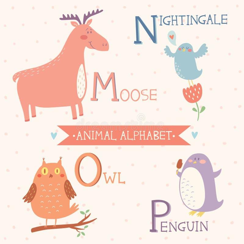 för bakgrundsbilder för alfabet djur white för vektor Älg näktergal, uggla, pingvin Del 4 stock illustrationer