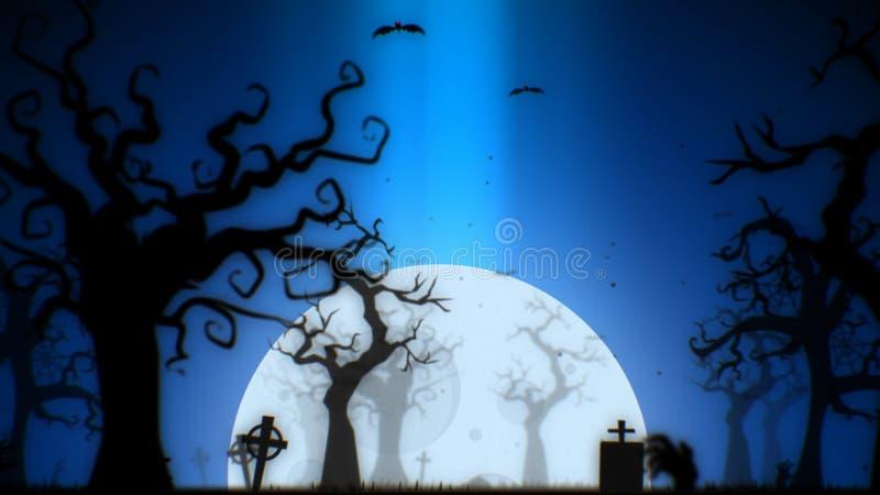 För bakgrundsblått för allhelgonaafton spöklikt tema, med det spöklika trädet, månen, slagträna, levande dödhanden och kyrkogårde arkivbild