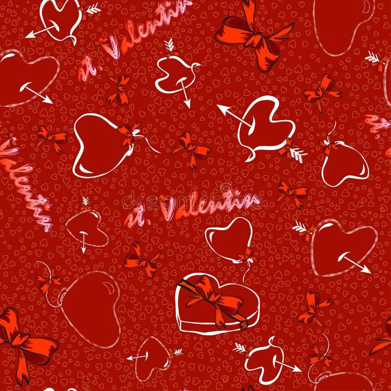 för bakgrundsdagguld röd s valentin för hjärtor royaltyfri illustrationer