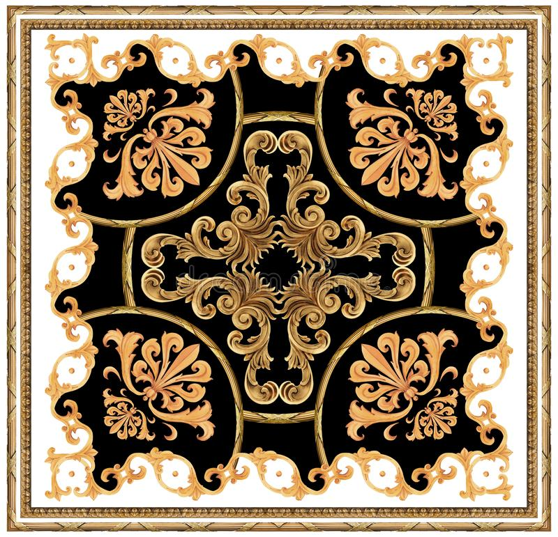 för bakgrundshalsduk för guld- barock prydnad vit svart modell stock illustrationer