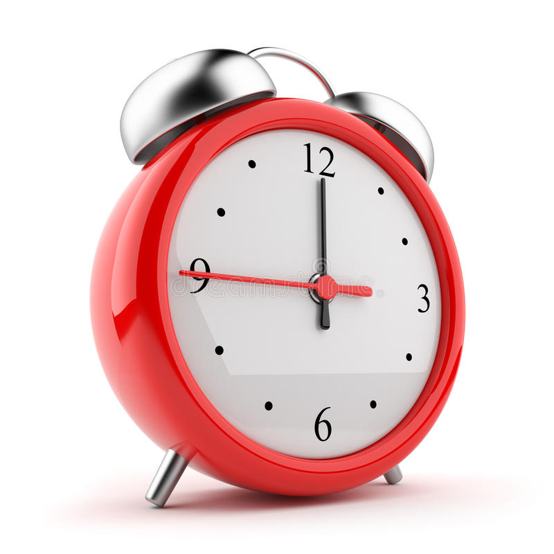 för bakgrundsklocka för alarm 3d white för symbol röd stock illustrationer