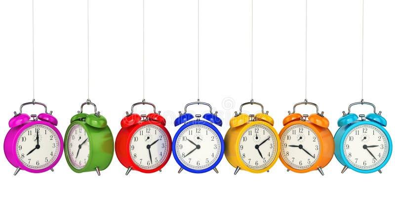 för bakgrundsklocka för alarm 3d tid för orange för begrepp för objekttid för bakgrund begrepp isolerad white vektor illustrationer